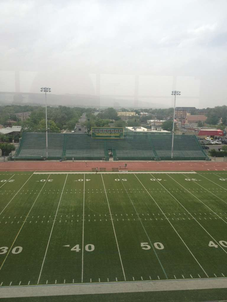 A view from the Tower at Lincoln Field overlooking Colorado Mesa University's football field.