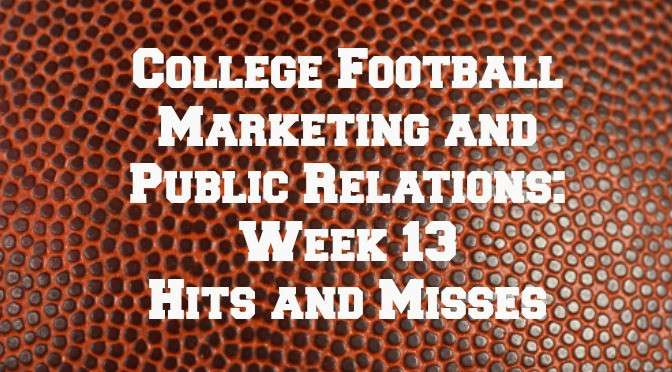 College Football Marketing - Week 13