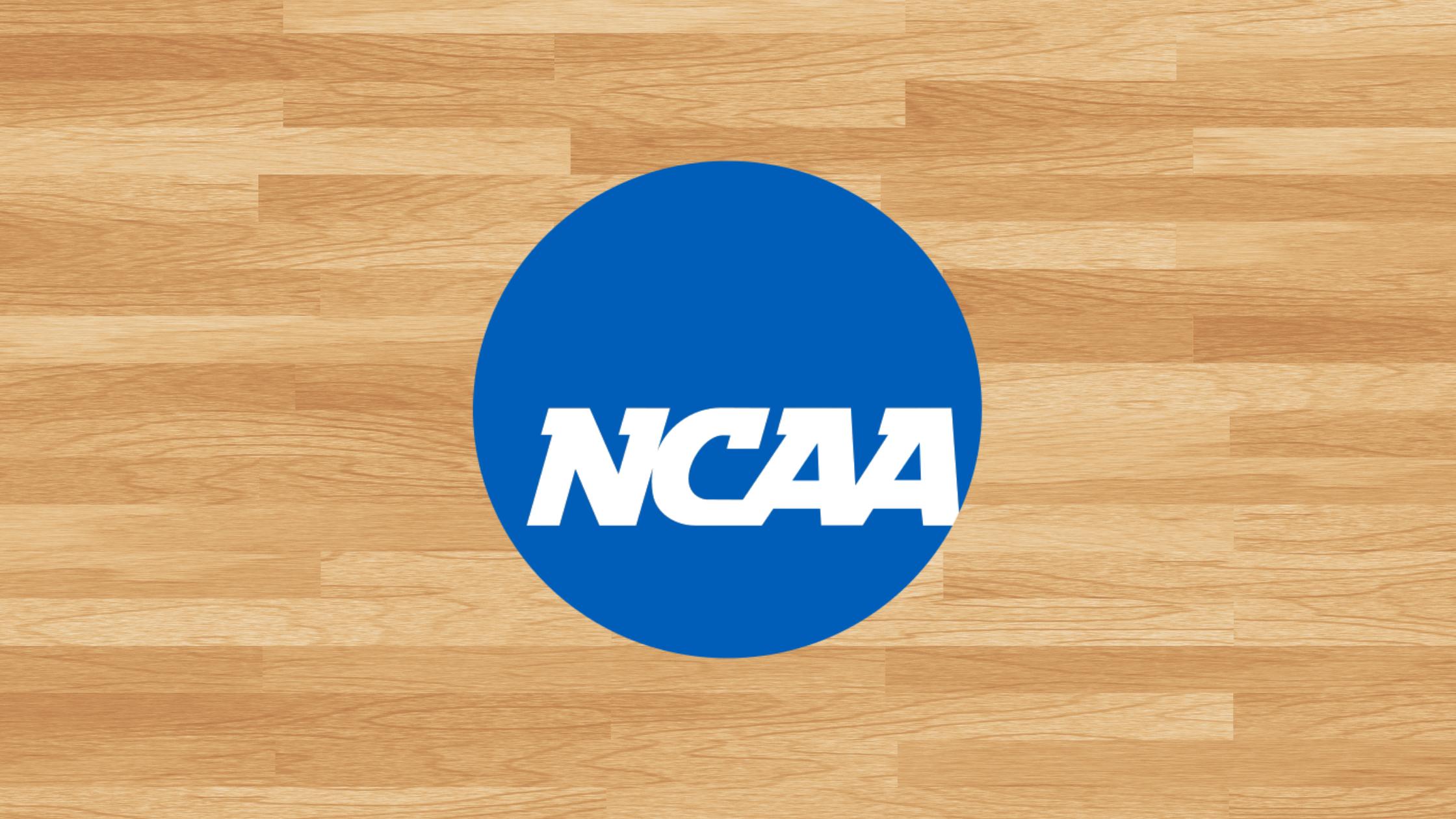 NCAA logo on a basketball court