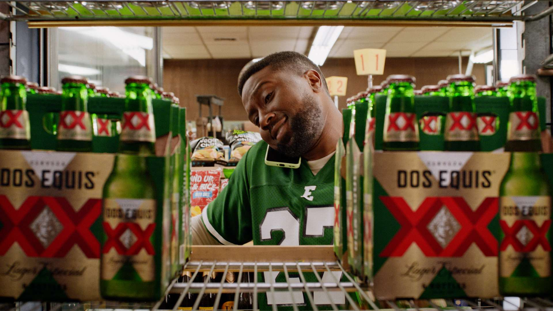 Dos Equis college football commercial still shot